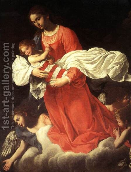 The Virgin and the Child with Angels by Giovanni Baglione - Reproduction Oil Painting