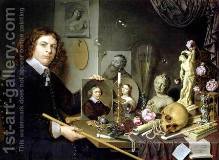Self-Portrait with Vanitas Symbols 1651 by David Bailly - Reproduction Oil Painting