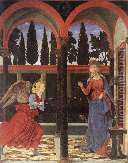 Annunciation 1447 by Baldovinetti Alessio - Reproduction Oil Painting