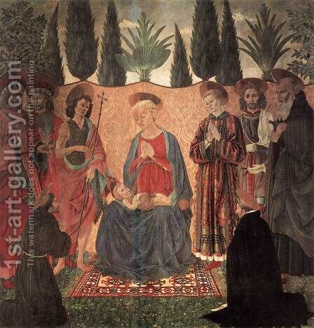 Madonna and Child with Saints c. 1454 by Baldovinetti Alessio - Reproduction Oil Painting