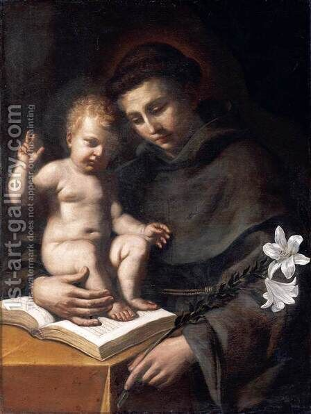 St Anthony of Padua with the Infant Christ 1656 by Giovanni Francesco Guercino (BARBIERI) - Reproduction Oil Painting