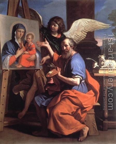 St Luke Displaying a Painting of the Virgin 1652-53 by Giovanni Francesco Guercino (BARBIERI) - Reproduction Oil Painting