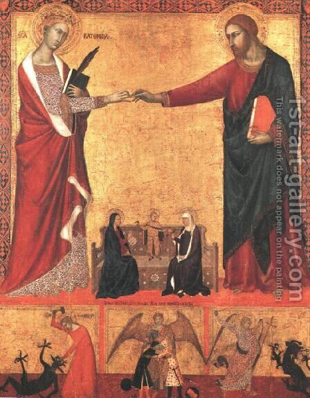 The Mystical Marriage of Saint Catherine 1340 by Barna Da Siena - Reproduction Oil Painting