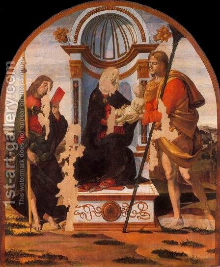 Madonna and Child with Sts James and Christopher c. 1486 by Bartolomeo Della Gatta - Reproduction Oil Painting
