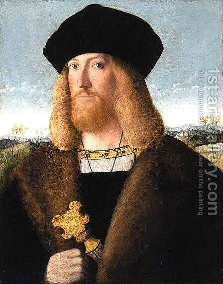Portrait of a Bearded Gentleman 1508-10 by Bartolomeo Veneto - Reproduction Oil Painting
