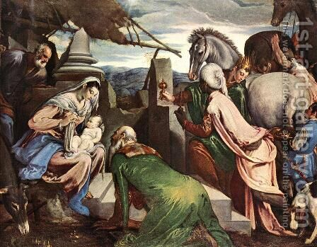 The Three Magi c. 1562 by Jacopo Bassano (Jacopo da Ponte) - Reproduction Oil Painting