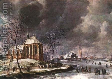 Village of Nieukoop in Winter with Child Funeral by Jan Abrahamsz. Beerstraten - Reproduction Oil Painting