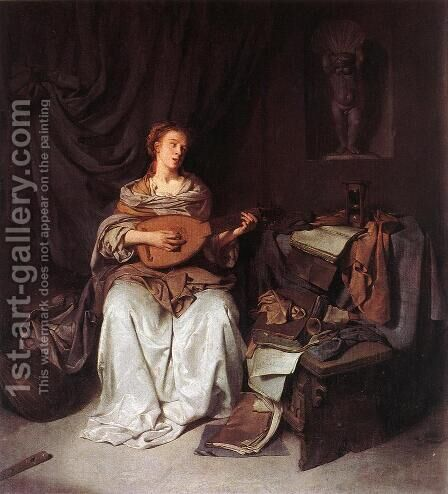 Woman Playing a Lute 1664-65 by Cornelis (Pietersz.) Bega - Reproduction Oil Painting