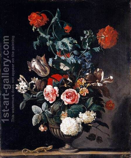 Flowers in a Stone Vase 1670 by Abraham Jansz Begeyn - Reproduction Oil Painting