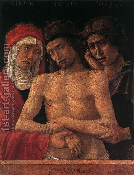 Dead Christ Supported by the Madonna and St John (Pietà) 1455 by Giovanni Bellini - Reproduction Oil Painting