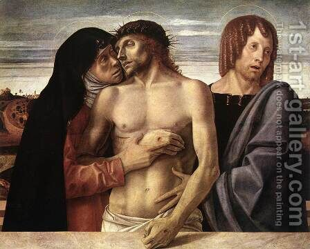 Dead Christ Supported by the Madonna and St John (Pietà) 1460 by Giovanni Bellini - Reproduction Oil Painting