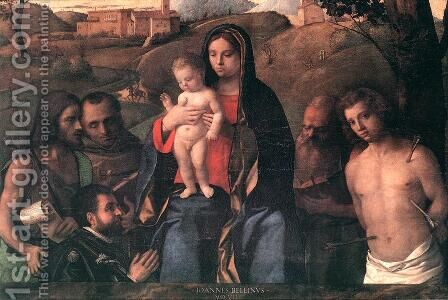 Madonna and Child with Four Saints and Donator 1507 by Giovanni Bellini - Reproduction Oil Painting