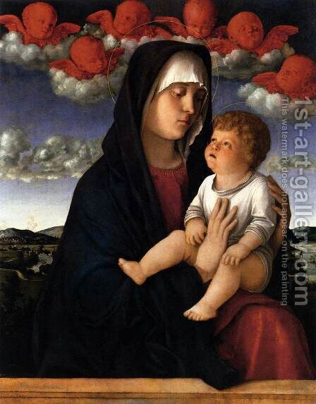 Madonna of Red Angels 1480-90 by Giovanni Bellini - Reproduction Oil Painting