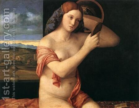 Naked Young Woman in Front of the Mirror 1515 by Giovanni Bellini - Reproduction Oil Painting