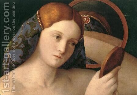 Naked Young Woman in Front of the Mirror (detail) 1515 by Giovanni Bellini - Reproduction Oil Painting