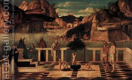 Sacred Allegory 1490-1500 by Giovanni Bellini - Reproduction Oil Painting