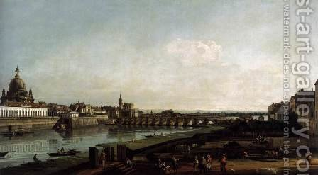 Dresden from the Right Bank of the Elbe, above the Augustusbrücke 1747 by Bernardo Bellotto (Canaletto) - Reproduction Oil Painting
