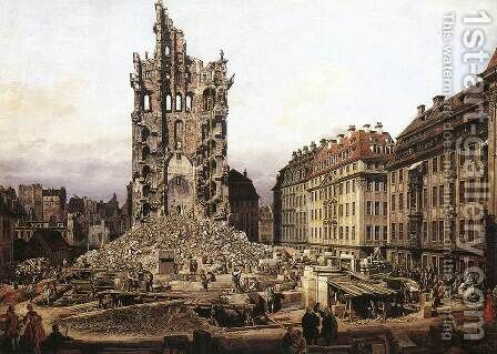The Ruins of the Old Kreuzkirche in Dresden 1765 by Bernardo Bellotto (Canaletto) - Reproduction Oil Painting