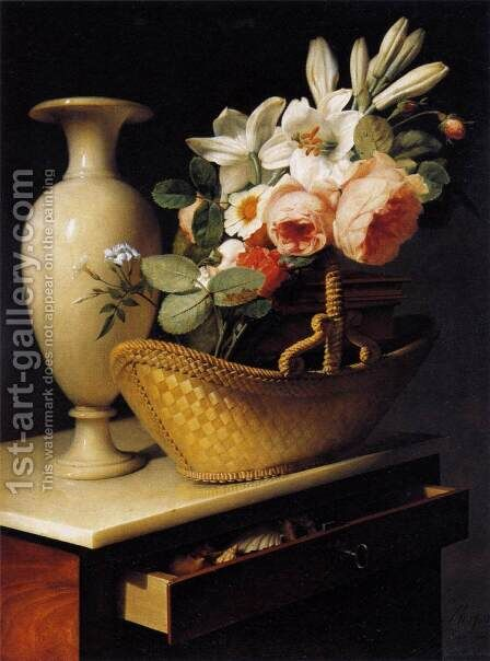Still-Life with a Basket of Flowers by Antoine Berjon - Reproduction Oil Painting