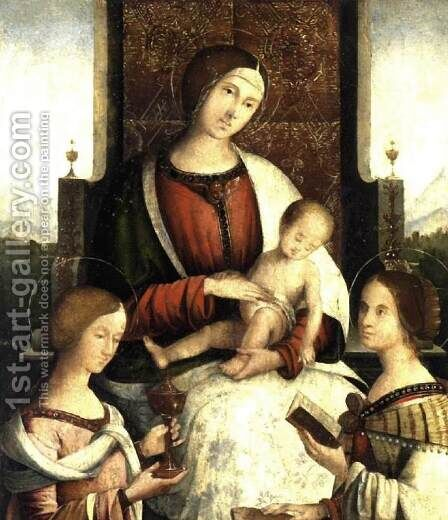 Madonna and Child with Sts Mary Magdalene and Catherine of Alexandria by Bernardino di Bosio (see ZAGANELLI) - Reproduction Oil Painting