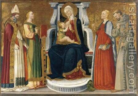 Madonna and Child Enthroned with Saints by Bicci Di Neri - Reproduction Oil Painting