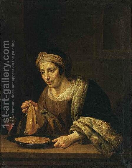 A Woman Holding Pancakes by Jan Hermansz. van Biljert - Reproduction Oil Painting