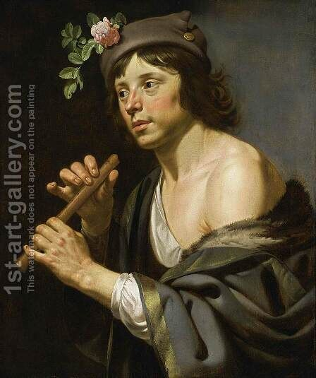 Shepherd Holding a Flute 1630-35 by Jan Hermansz. van Biljert - Reproduction Oil Painting