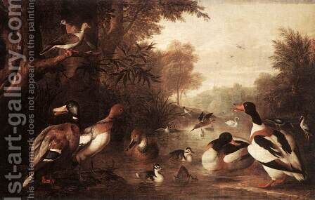 Landscape with Ducks by Jakab Bogdany - Reproduction Oil Painting