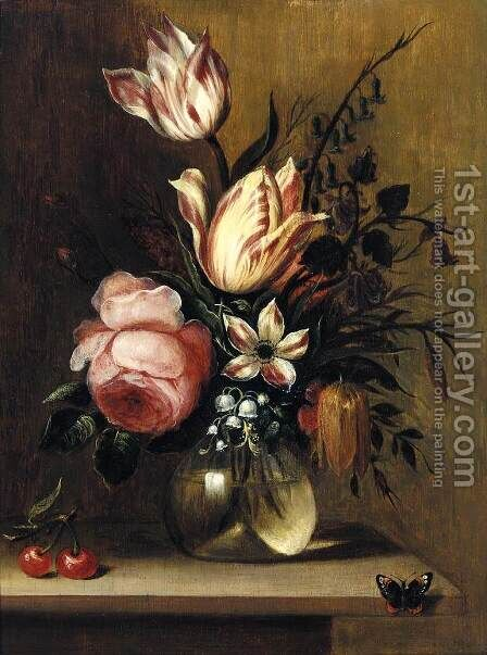 Flowers in a Vase c. 1660 by Hans Bollongier - Reproduction Oil Painting
