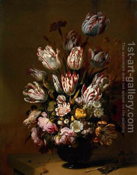 Still Life with Flowers 1639 by Hans Bollongier - Reproduction Oil Painting