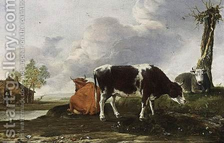 Landscape with Cows 1649 by Anthonie van BORSSUM - Reproduction Oil Painting