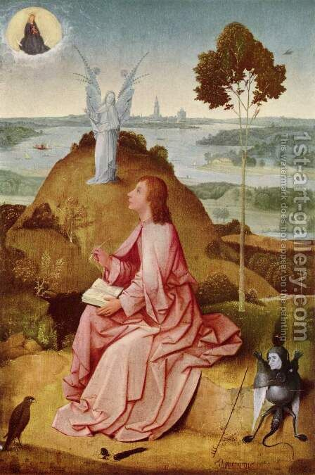 St John the Evangelist on Patmos 1504-05 by Hieronymous Bosch - Reproduction Oil Painting