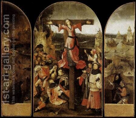 Triptych of the Crucifixion of St Julia by Hieronymous Bosch - Reproduction Oil Painting