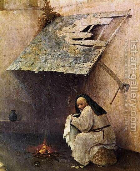 St Peter with the Donor (left wing) (detail) c. 1510 by Hieronymous Bosch - Reproduction Oil Painting