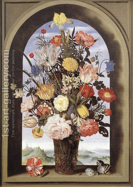 Bouquet in an Arched Window 1620 by Ambrosius the Elder Bosschaert - Reproduction Oil Painting