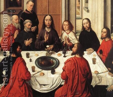 The Last Supper (detail 1) 1464-67 by Dieric the Elder Bouts - Reproduction Oil Painting