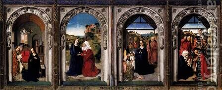 Triptych of the Virgin c. 1445 by Dieric the Elder Bouts - Reproduction Oil Painting