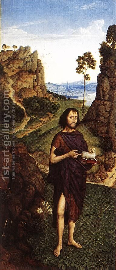 St John the Baptist c. 1470 by Dieric the Younger Bouts - Reproduction Oil Painting