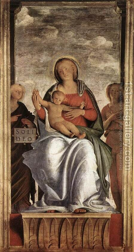 Madonna and Child with Two Angels c. 1508 by Bramantino (Bartolomeo Suardi) - Reproduction Oil Painting