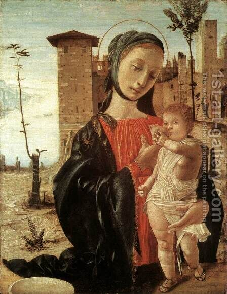 Madonna del Latte c. 1490 by Bramantino (Bartolomeo Suardi) - Reproduction Oil Painting
