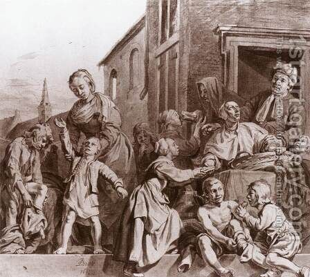 Tending Children in the Orphanage in Haarlem 1663 by Jan De Bray - Reproduction Oil Painting