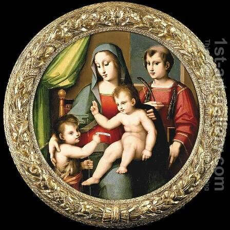 Madonna and Child with the Infant St John and St Peter Martyr by Andrea del Brescianino - Reproduction Oil Painting