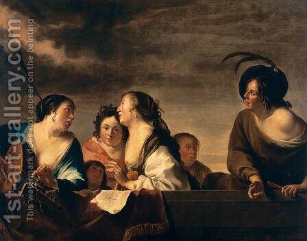 A Concert c, 1646 by Jan Gerritsz van Bronchorst - Reproduction Oil Painting