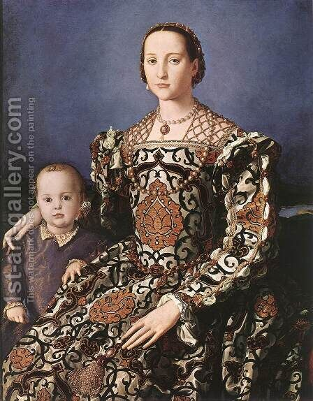 Eleonora of Toledo with her son Giovanni de' Medici 1544-45 by Agnolo Bronzino - Reproduction Oil Painting