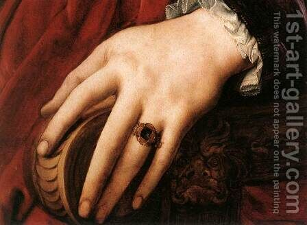 Portrait of Lucrezia Panciatichi (detail) c. 1540 by Agnolo Bronzino - Reproduction Oil Painting