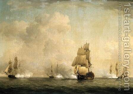 The Capture of a French Ship by Royal Family Privateers by Charles Brooking - Reproduction Oil Painting