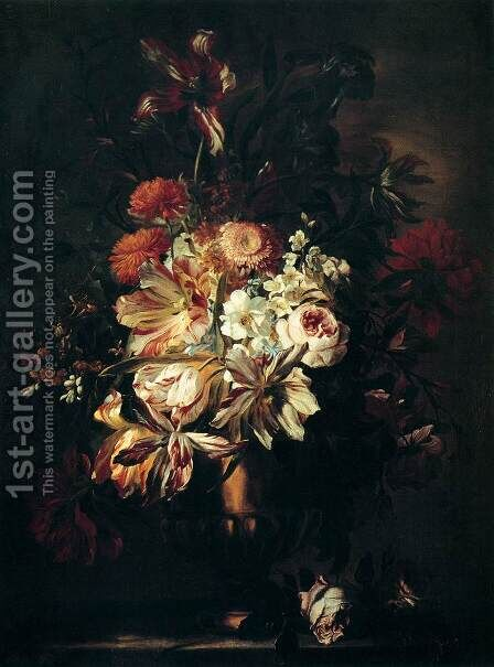 Flowers in a Bronze Vase 1670 by Abraham Brueghel - Reproduction Oil Painting
