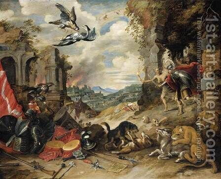 Allegory of War 1640s by Jan, the Younger Brueghel - Reproduction Oil Painting