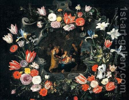 Still-Life of the Holy Kinship c. 1650 by Jan, the Younger Brueghel - Reproduction Oil Painting