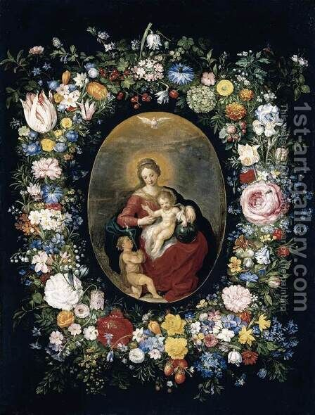 Virgin and Child with Infant St John in a Garland of Flowers 1630s by Jan, the Younger Brueghel - Reproduction Oil Painting